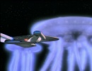 The Enterprise draws level with the spaceborne lifeforms from the pilot, 'Encounter at Farpoint'